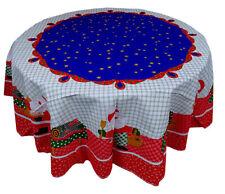 Tovaglia Rotonda Natalizia cm 160 NATALE rosso e blu cotone