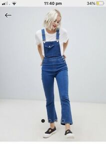 ASOS denim overalls 12 dungarees with kick flare bottoms BNWT