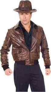 Distressed Leather Jacket Indiana Jones Brown Halloween Adult Costume Accessory