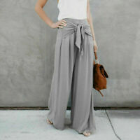 Women Ladies Palazzo Plain Flared Wide Baggy Trousers US Leg Long Pants leggings