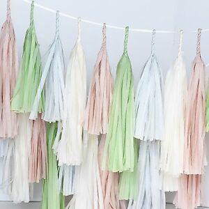 Dusty blush and green paper tassel garland - fully assembled- party decorations