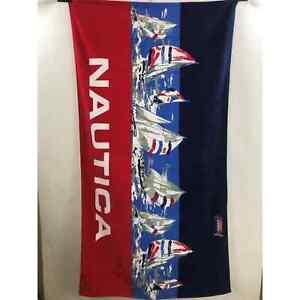 Nautica sailboat red white blue Beach Pool Towel New