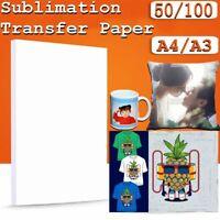 Sublimation Transfert Papier Pour Tasse Plaque T-Shirt 50/100 Feuilles - A4/A3 -