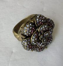 HEIDI DAUS Amethyst / Purple / Blue Crystal Petal Flower Ring Size 8