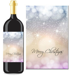 Christmas Xmas Sticker / Bottle Labels to fit wine style bottle (5 designs)