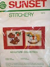Christmas Embroidery Kit Sunset Designs Teddy Bear Rocking Horse 1981