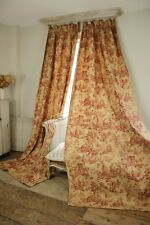 Curtains Toile de Jouy pair drapes red Antique French set with tie back