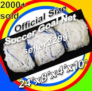 1 WHITE ORONO SPORTS OFFICIAL SIZE 24' x 8' x 4' x 10' SOCCER GOAL NET NETTING