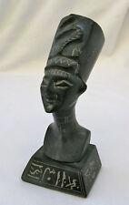 "Egyptian Basalt Stone Black Queen Nefertiti Statue 5""  Hieroglyphic"