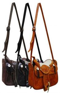 Western Saddle Purse Leather Handbag For the horse lover Light or Brown or Black