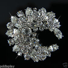 14k white Gold GF solid brilliant crystals brooch pin with Swarovski elements