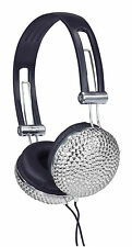 New Jersey Sound Corp. Silver Crystal Effect Stylish Bling Stereo Headphones