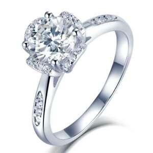 1Ct. 6.5mm Flower Design Solid Silver 925 Ring Moissanite Diamond-6 GRA100011780