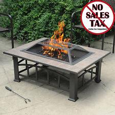 Outdoor Wood Burning Fire Pit Tile Top Backyard Patio Heater Table Rectangular
