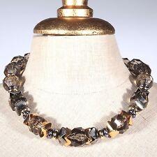 Collier Kette Halskette Vintage gold Farbe Rauchquarz Kunststoff Perlen Metall