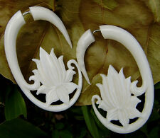 White Bone Lotu  Flower Earrings Fake Gauge  Organic Bone   Split  Expanders