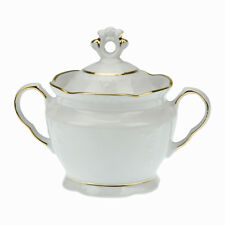 Porcelain Sugar Bowl Lid Dish Sweet Jar Container Storage Canister White Gold