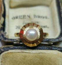 18ct Gold Pearl Solitaire Ring. Pearl statement ring Art deco vintage pearl ring