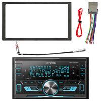 Kenwood 2-DIN Bluetooth USB AUX AM/FM Radio w/ Kit + Harness, Antenna Adapter