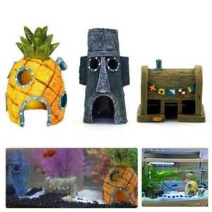 3pcs Cartoon Resin Fish Tank Ornament Aquarium Landscape House Cave Decorations