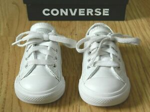 Converse All Star Lo Toddler Leather Trainers White Shimmer Size Infants 4 / 20