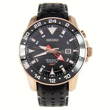 Seiko Men's SUN028 'Sportura Kinetic' Black Leather Watch