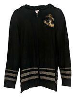 Quacker Factory Women's Top Sz XL Zip Front Embellished Knit Black A287074