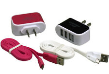 USB Triple Port AC Adapter Wall Charger + Cord for Smart Phones Samsung Android