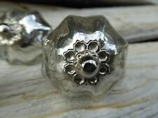 SILVER MERCURY Vintage FLORAL Top Pumpkin Scallop GLASS Cabinet Drawer Pull KNOB