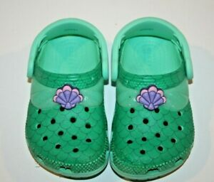 Crocs 7 toddler Disney Ariel Little Mermaid Girls Clogs