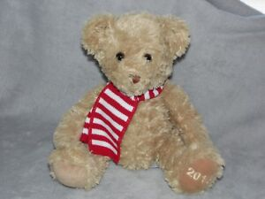 WAITROSE 2013 BEAR SOFT TOY BROWN TEDDY RED WHITE SCARF COMFORTER DOUDOU
