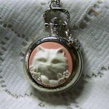 """CAT CAMEO  POCKET WATCH NECKLACE 30"""" CHAIN AND CAT CHARM - PINK KITTY"""