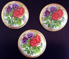 """3 Czech WHITE VASELINE!! Glass Buttons #G941 - (32 mm or 1-1/4"""") - RARE FLOWERS"""