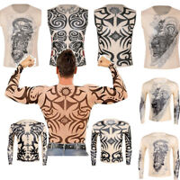 Fashion Men Fake Tattoo T-Shirt Crop Tops Party Exotic Costume 3D Print Shirt