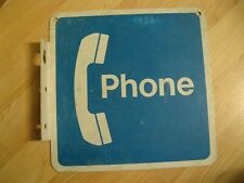 Telephone Booth Pay Phone Metal Sign - Vintage Blue & White Receiver Wall Sign