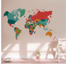World Map Wall Sticker Country Names Large Multi Colour Decal Decoration Mural