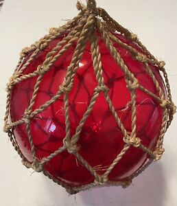 Vintage Japanese Glass Fishing Float  Large Red Weighs approx 1.7lbs
