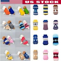 Small Pet Cat Dog Winter Knitted Jumper Sweater Warm Coat Jacket Puppy Clothes