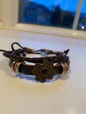 Leather Braid Adjustable Charm Bracelet Flower, Metal Rings, Star, Beads