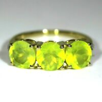 Lime Sphene Trilogy & Diamond 9ct Yellow Gold Ring size J  ~ 4 3/4