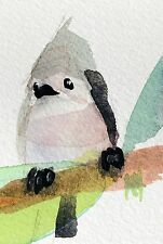 Tufted Titmouse no. 54 Original Watercolor Painting by Angela Moulton ACEO Art