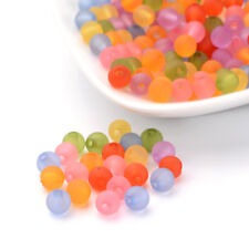 200pcs Colorful Transparent Acrylic Beads Round Smooth Frosted Finish Craft 6mm