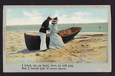 1907  Sailor & woman on boat romantic Military song music postcard
