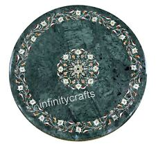 24 Inches Marble Green Table Top Round Sofa Table Semi Precious Stones Inlaid
