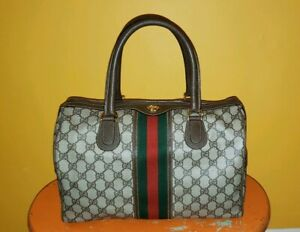 Vintage Gucci GG Monogram Boston Brown Speedy Bag Large