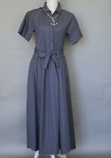 New Authentic Max Mara Navy Cotton Long Belted Shirt Dress Size 2, MSRP $450.00