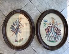 """New listing Set 2 Vintage 9.5""""x7.5"""" Oval Needlepoint Petit Point Victorian man woman picture"""