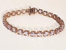 """Sterling Silver Rose D'France Amethyst Bracelet Rose Gold Plated 8"""" 26 6mm Gems"""