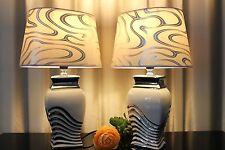 2 Lampen weiß silber Nachttischlampe Leuchte Keramik Tischlampe Tischleuchte