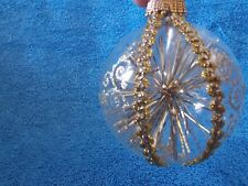 Vintage Clear Ball With Gold Ribbon, Glitter & Tinsel Inside Christmas Ornament